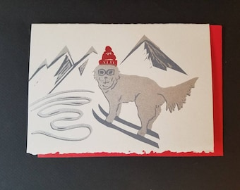 Winter Dog Letterpress greeting card