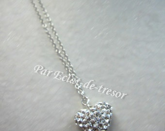 Sterling silver heart necklace with crystals