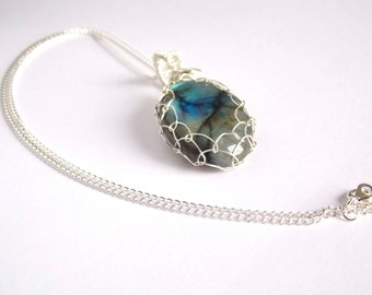 Labradorite Pendant Necklace, Wire Wrap Caged Gemstone, Elegant Gift for Girlfriend Wife Mother Sister