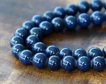 Mountain Jade Beads, Navy Blue, 10mm Round - 15 inch strand - eMJR-B09-10