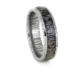 Deer Antler Wedding Ring with Damascus Stainless Steel Band
