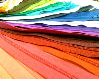 Nylon Zippers 12 Inches Coil #3 Closed Bottom Assorted Colors Choose Quantity