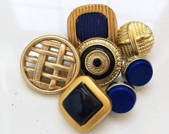 eco friendly vintage modern gold tone plastic faux metal shank buttons with blue centers--mixed lot of 7