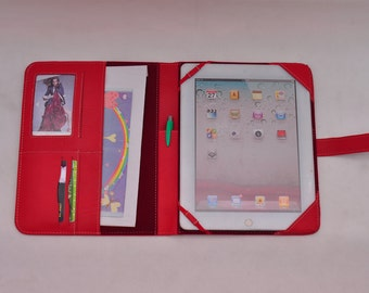Top grain iPad leather case with belt for your iPad 1 and iPad 2 in Red