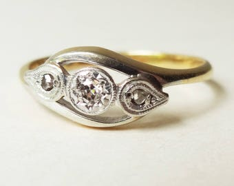 Art Deco Eastern Design Ring, Vintage 18k Gold, Platinum and Diamond Engagement Ring, Approx Size US 7.25