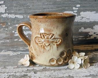 Bee Mug - Handmade Pottery Bee Mug - Caramel Bee Mug - Honeycomb - Tea Cup - Stoneware Mug - Coffee Cup - IN STOCK