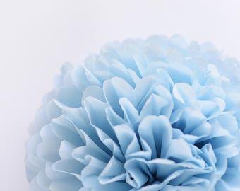 Paper pom pom in Powder blue - birthday decorations - wedding decorations / party decor/ nursery decor/ bridal baby shower / party poms