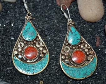Navajo Tribal Earring,Turquoise Coral Earrings,Ethnic Silver,Boho,Nepal Jewelry,Vintage Earrings,Silver Antique Earrings Afghan Jewelry