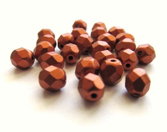 Matte Metallic Faceted Antique Copper Czech Glass Round Beads, 6mm - 25 pieces