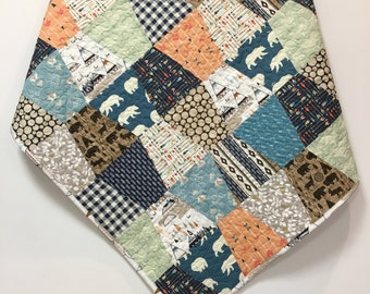 Baby Boy Quilt Woodland Tribal Scrappy Tumbler Patchwork  Nursery Crib Bedding  Teepee Arrows deer moose bear