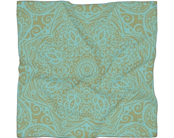 Mandala Olive And Teal Poly Scarf