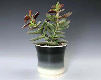 "Black White Small Ceramic Planter, Succulent Planter, Porcelain Plant Holder, Indoor Planter, Pottery Planter With 2"" Removable Plastic Pot"
