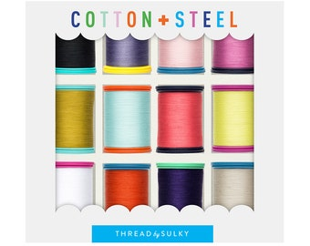 Cotton + Steel Sulky Thread Set - Basic Thread Packs Collection - Set of 12 colors - 50 weight quilting thread - 660 yards spool