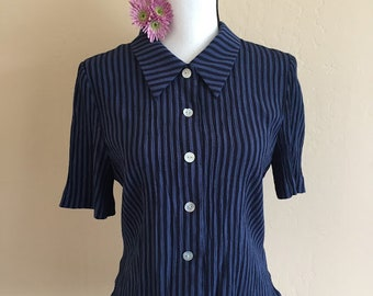 Vintage striped short sleeved button down blouse