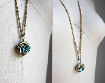 Aqua Blue Rhinestone Gold Necklace