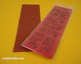 Heart Tickets / Invoke Arts Collage Rubber Stamps / Unmounted Stamp Set