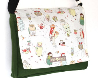 Green Hoot Wise OWL MESSENGER Book Laptop Diaper BAG