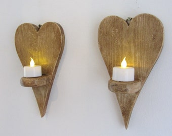 Pair of Reclaimed wood Small Heart shaped LED tea light candle holders wall sconces
