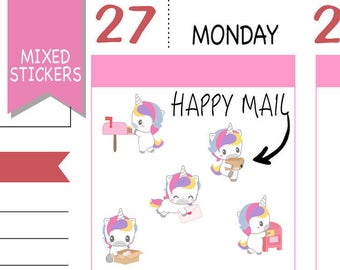 Mixed Happy Mail Stickers Happy Mail Planner Stickers Kawaii Unicorn Stickers Kawaii Stickers Erin Condren Functional Stickers NR1577