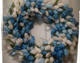 Tulip Wreath, Spring Wreath, Summer Wreath, Easter Wreath, Front Door Wreath, Blue Wreath, Spring Flowers Wreath.