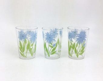 Vintage Swanky Swigs Cornflower  3 1/4 Inch 1940s tumblers Juice Glasses Kraft Promo Swankyswigs