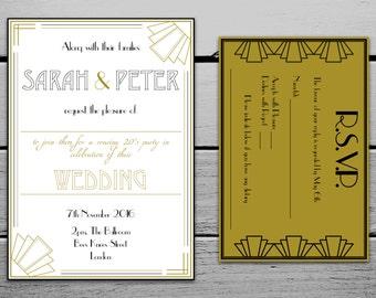 Digital 1920s Great Gatsby Wedding Invitation and RSVP Card