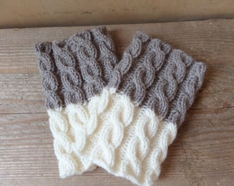 2 in 1 Boot Cuffs - Taupe Gray White - Hand knit 2 ways to wear boot cuffs Cable knit Boot toppers Leg warmers