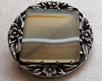 Antique 925 Sterling Silver Art Deco Striped Agate Brooch