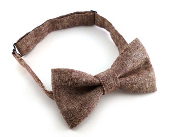 Rust red linen and cotton pretied bow ties for men – denim material
