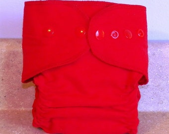 Fitted Large Cloth Diaper- 20 to 30 pounds-  Red Flannel- 19005