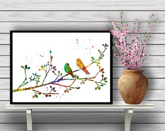 Birds on a Branch, Flowering Tree Watercolor,Animal,Colorful Birds, watercolor painting, gift, Instant Download