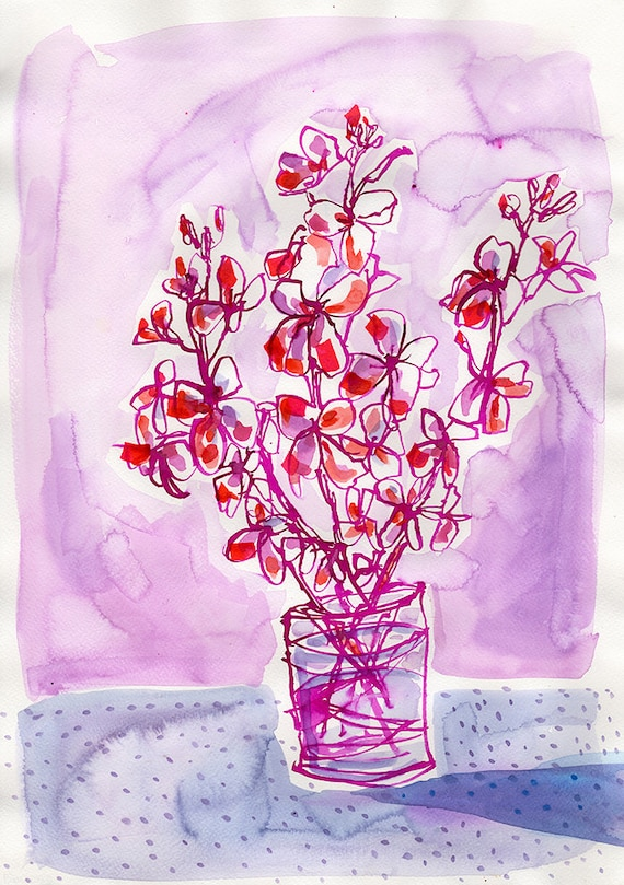 Dotty Vase Purple Wall Art Print botanical illustration