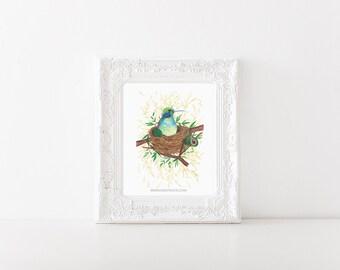 hummingbird painting > hummingbird art print > hummingbird illustration > nursery art > woodland illustration > woodland art print