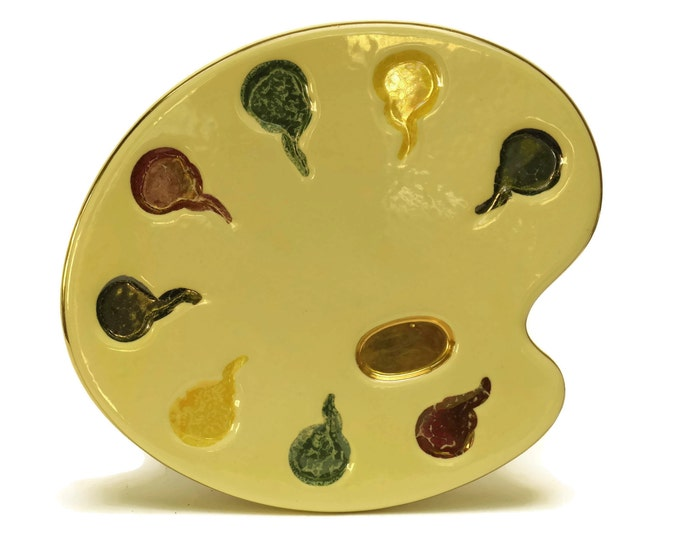 Artist's Palette French Cheese Platter. Mid Century Ceramic Plate and Snack Tray. Gifts For Painters.