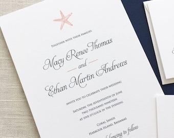 Starfish Wedding Invitations, Starfish Invitations, Beach Wedding Invitations, Tropical Wedding Invitations, Destination Wedding, Hawaii
