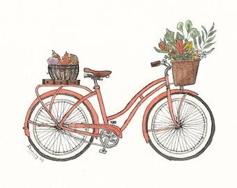 Coral Bike Print - Watercolor Print - Art Print - Vintage Bike Art - Beach Bike - matted print
