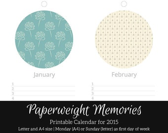 Perpetual Narrow Wall Calendar - Blueberry Fields - Instant Download - Digital Printable PDF - Scrapbook Calendar