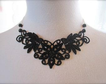Black Lace Necklace Lace Fashion Victorian Choker Fabric Jewelry Vintage style Collar Retro Dramatic bib Jewelry Statement Necklace