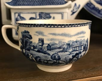Vintage Old Britain Castles Blue And White Tea Cup Made In England - Stratford On Avon 1792 - Johnson Brothers