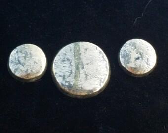 Marcasite Bright Gold Bronze Metallic Freeform Designer Cabochon Triplet Set