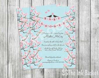 Bird Floral Baby Shower Invitation