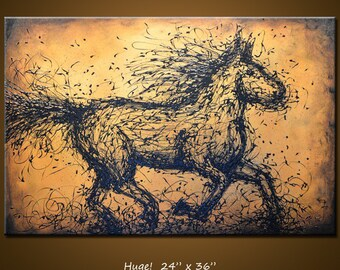 """Amy Giacomelli Painting Original Large Abstract Textured Horse .... 24 x 36 ... """"Momentum"""", plz c close ups"""