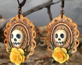 Day of the Dead Earrings, Miniature Altar, Victorian Memento Mori Assemblage Earrings, Halloween, Dia De Los Muertos, HandMade Skull Shrine