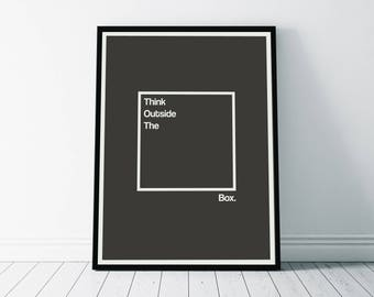 Wall Art Print, Think Outside The Box Print, Inspirational Poster, Motivational Print, Inspirational Print, Inspiration Art, Minimalist Art