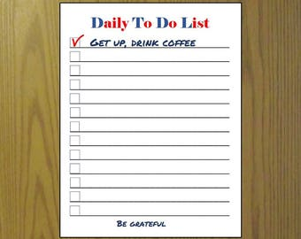 To Do List printable Daily, Full page Planner Half page, Funny planner pages, Planner list pages home office, task list, coffee grateful