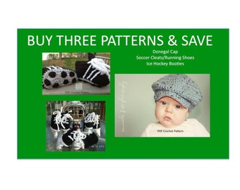 Instant Download - Buy Donegal Cap - Hockey Skates - Soccer Cleats Crochet Patterns together and Save