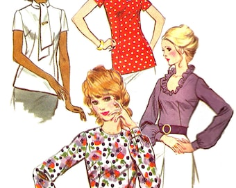 1970s Blouse Pattern McCall's Shirt Top Pullover Back Zip Vintage Sewing Women's Misses Size 14 Bust 36 Inches