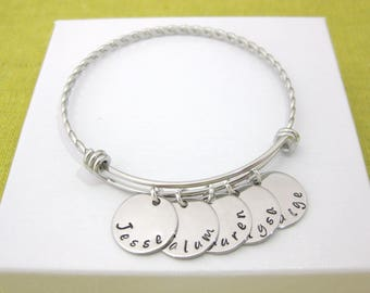 Personalised Twisted Names Bangle Names Bracelet 1, 2, 3, 4 or 5 Hand Stamped Name Discs  Personalised Gift UK Seller
