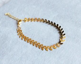 Gold Fishbone Choker, Boho Choker, Layering Necklace, Gold Choker Necklace
