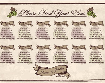 Winery Wedding Seating Chart Digital Design Printable PDF Custom Personal Poster Print File ONLY grapes custom colors and fonts